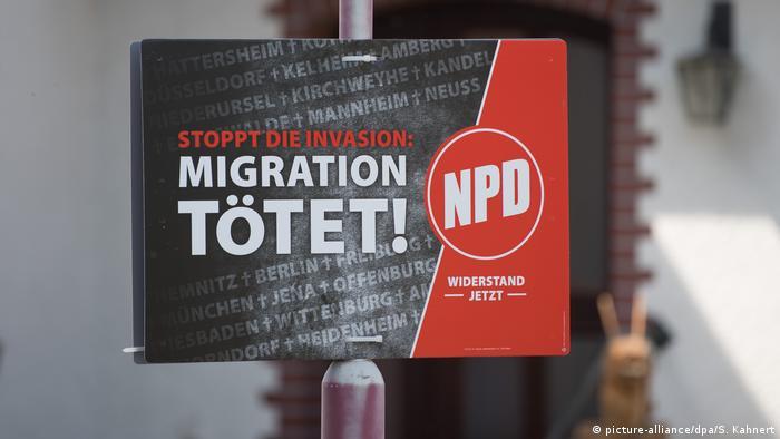 NPD election poster reading Migration kills!