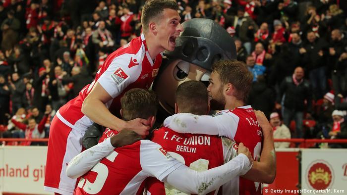 Union Berlin celebrate after scoring against Ingolstadt.