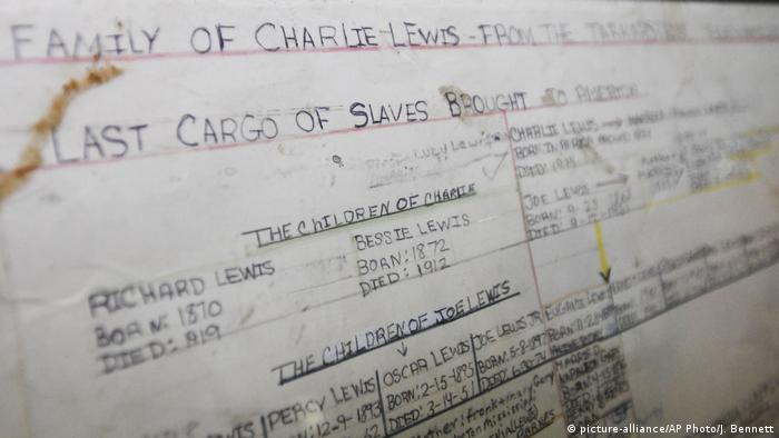 The family tree of Lorna Gail Woods, a direct descendant of slave ship Clotilda survivor Charlie Lewis, in Africatown