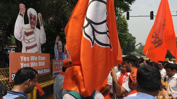Celebration at BJP office in new Delhi