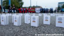Copies of the Basic Law placed on the ground in Chemnitz