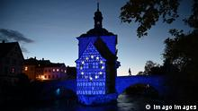 BAMBERG, GERMANY, 12.05.2019 --- Die europäische Flagge wird anlässlich des Europatags auf das historische Alte Rathaus in Bamberg projiziert. --- Since the European Day on 9th May the historic Old City Hall in Bamberg, Bavaria, Germany is illuminated with a projection the European flag. Poto: Hans-Martin Issler/isslerimages ---- Europe-Day / Europa-Tag