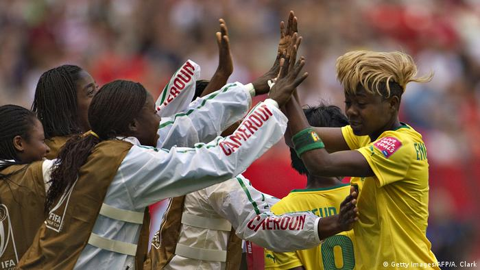 Gaelle Enganamouit celebrating her second goal during the 2015 Women's World Cup (Getty Images/AFP/A. Clark)