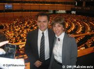 Božidar Đelić i Milica Delević-Đilas neposredno po usvajanju rezolucije u Evropskom parlamentu