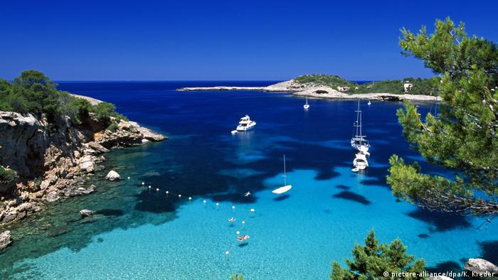 Spain, Ibiza a bay with yachts