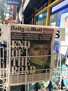 Конец пути - заголовок статьи о Терезе Мэй на первой полосе британской газеты Daily Mail