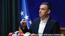 Photo: President of the Kosovo Assembly Kadri Veseli in press conference in Pristina Deutsche Welle have all right to use this photo for website Author: Office of the President of Kosovo Assembly ( public domain for media) Date: 23.05.2019