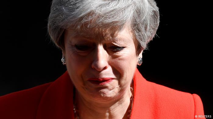 British Prime Minister Theresa May reacts as she delivers a statement in London (REUTERS)