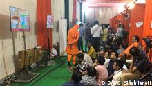 BJP office, where supports are watching television.