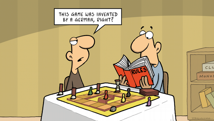 Two men playing chess, one reading the rule book (DW Euromaxx Comics von Fernandez | That´s so german Spielregeln | ENGLISH)