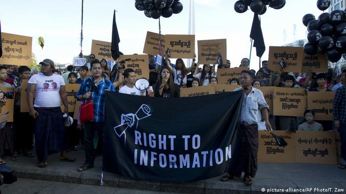 Myanmar Demonstration für Journalisten