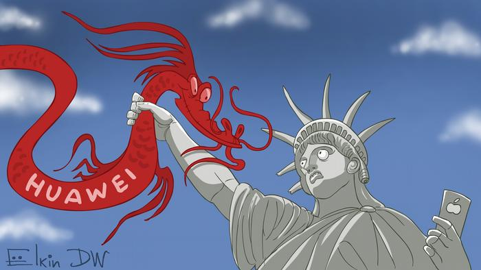 Animation of a red Chinese dragon (Huawei) being caught by the Statue of Liberty.