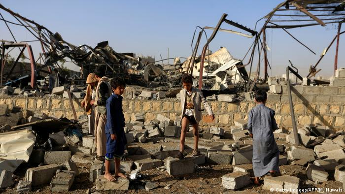 Airstrike destruction in Yemen
