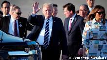 U.S. President Donald Trump waves as he arrives at the Haneda International Airport in Tokyo, Japan, May 25, 2019. Koji Sasahara/Pool via Reuters