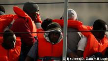 Rescue boat with immigrants aboard