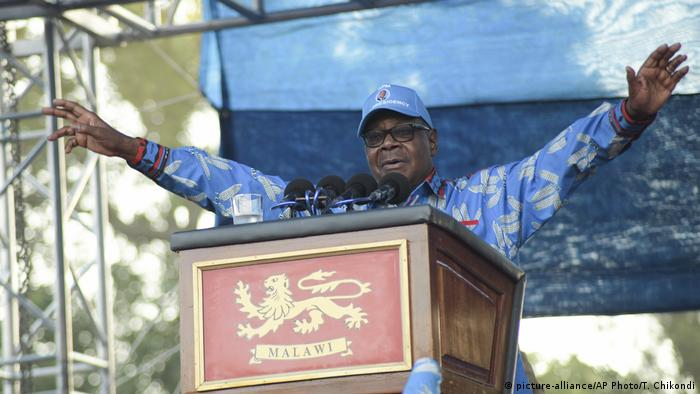 Peter Mutharika, incumbent presidental candidate speaks at his final election rally.
