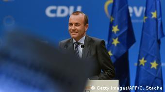 Europawahl 2019 l Manfred Weber, Spitzenkandidat der Europäischen Volkspartei EVP in München (Getty Images/AFP/C. Stache)