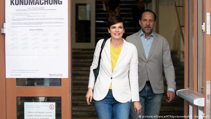 Leader of Austria's Social Democrats (SPÖ) Pamela Rendi-Wagner and her husband Michael Rendi after voting in Vienna