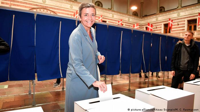 Dänemark - Margrethe Vestager bei Stimmabgabe zur Europawahl (picture-alliance/Ritzau Scanpix/M. C. Rasmussen)