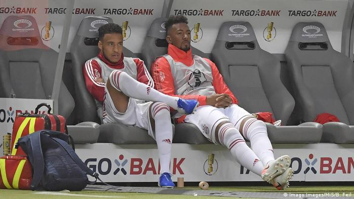 Jerome Boateng on the bench at the German Cup fina
