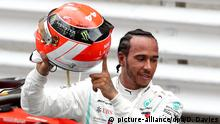 Formel 1: Grand Prix von Monaco Hamilton Helm mit der Aufschrift Niki Lauda