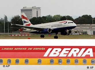 A British Airways plane and an Iberia plane at Heathrow Airport.