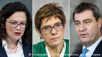 Андреа Налес (СДПГ), Аннегрет Крамп-Карренбауер (ХДС), Маркус Зёдер (ХСС)