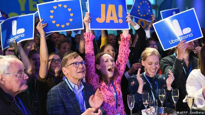 Празднование результатов выборов в Европарламент в Швеции