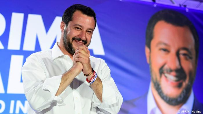Matteo Salvini celebrates election results in Milan, May 26, 2019. (AFP/M. Medina)