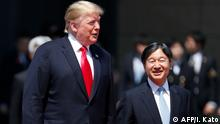 27.05.2019 US President Donald Trump is escorted by Japan's Emperor Naruhito during a welcome ceremony at the Imperial Palace in Tokyo on May 27, 2019. (Photo by ISSEI KATO / POOL / AFP)
