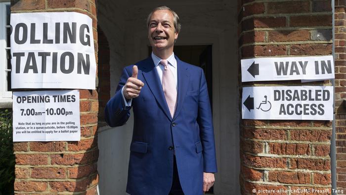 Großbritannien Europawahl in Biggin Hill - Nigel Farage (picture-alliance/ZUMA Press/R. Tang)