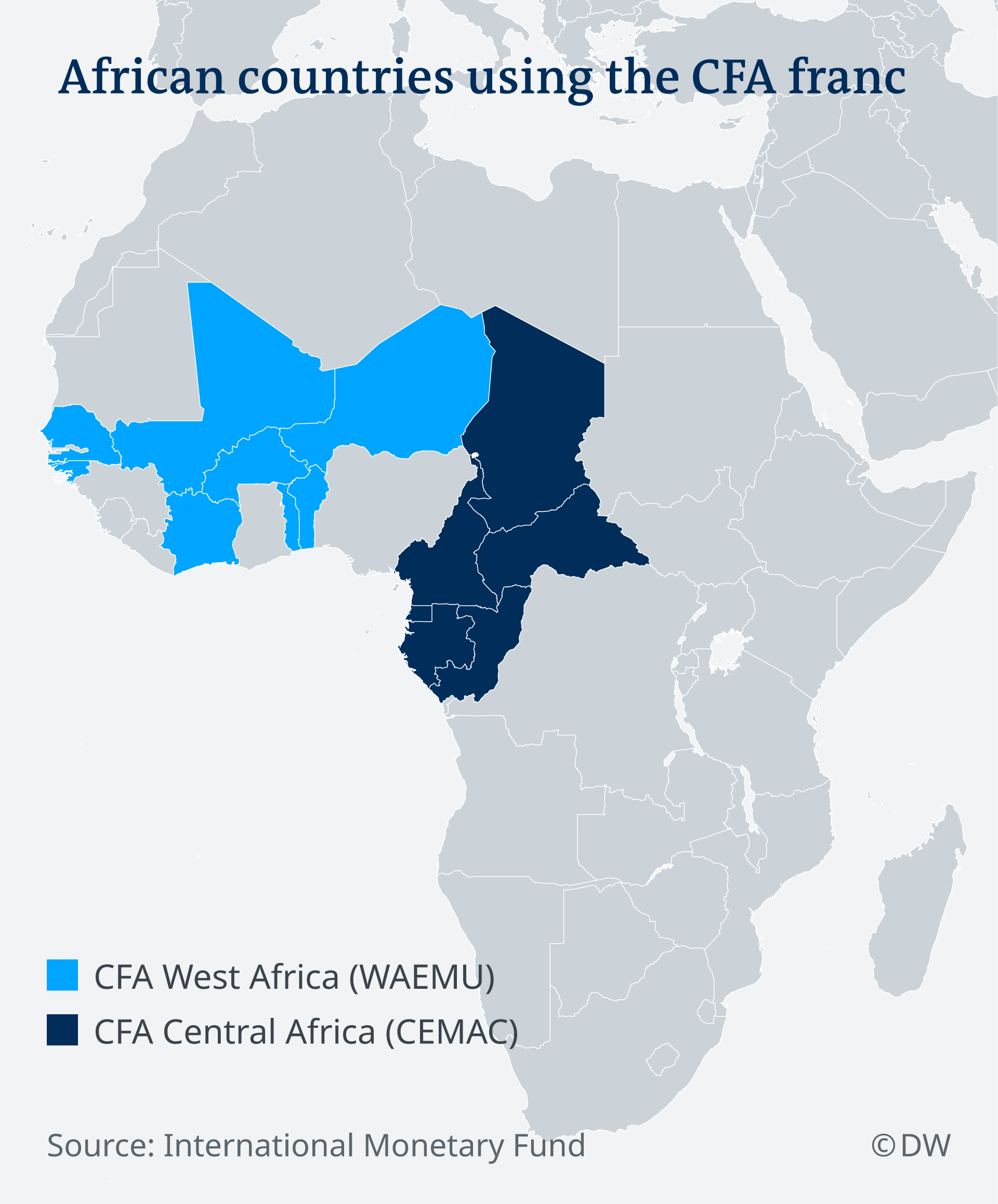Map showing the countries that use the CFA franc