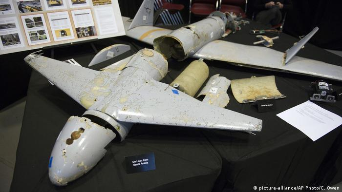 Display of an Iranian Qasef-1 drone which was fired by Houthi rebels into Saudi Arabia in 2017