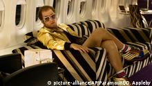 This image released by Paramount Pictures shows Taron Egerton as Elton John in a scene from Rocketman, which will be shown during the Cannes Film Festival. (David Appleby/ Paramount Pictures via AP)