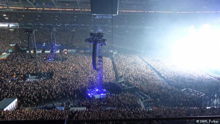 Rammstein concert in Gelsenkirchen's Veltins-Arena, one side of the image in white from an explosion (DW/R. Fulker)