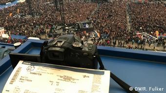 Blick in en presseraum über der Veltins Arena (DW/R. Fulker)