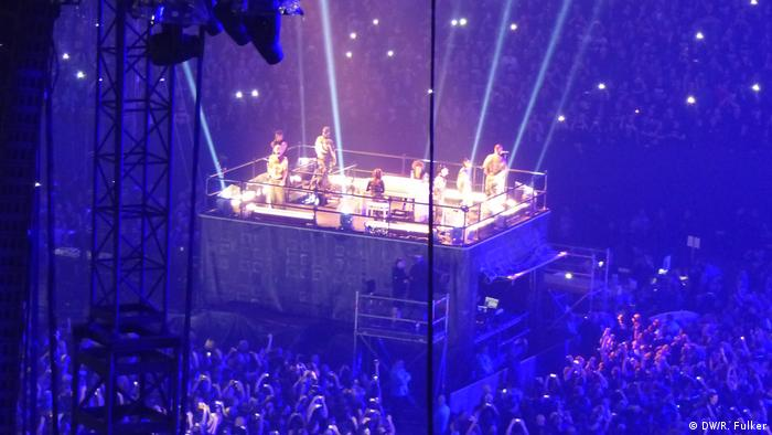 From Rammstein's concert in Gelsenkirchen, the band and the pianists on an elevated stage in the middle of the Veltins Arena