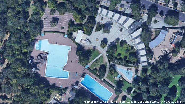 Screenshot Google Maps Sommerbad Neukölln am Columbiadamm (Imagery (C) Google, Map data (C)2019 GeoBasis-FE/BKG, (C) 2009), Google)