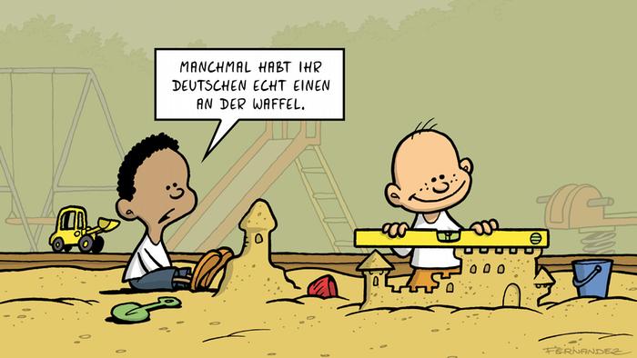 Zeichnungen zeigt zwei Jungs, die Sandburgen bauen. Einer benutzt dazu eine Waage.