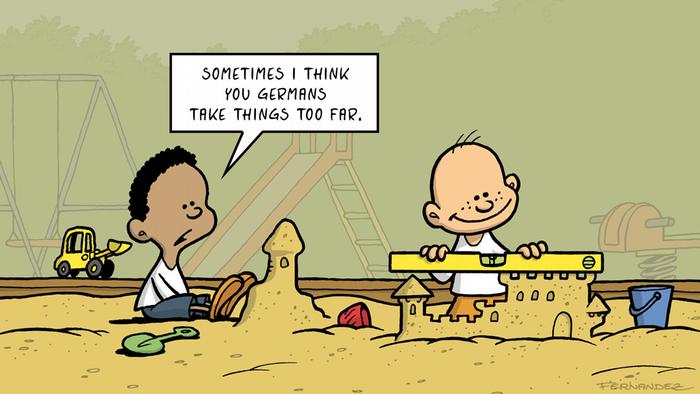 Fernandez cartoon: two children building sand castles.