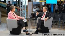 DW Global Media Forum 2019   04   Interview Armin Laschet (Minister President of the German State of North Rhine-Westphalia)   Ines Pohl (Editor in Chief, Deutsche Welle) © DW Ronka Oberhammer