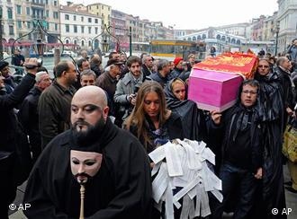 Native Venetians stage a mock funeral procession in Venice, Italy, Saturday, Nov. 14, 2009.