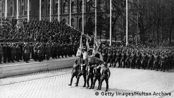 Nazi troops parading in Vienna in 1938
