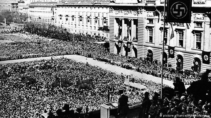 Crowds celebrating Austria's annexation in 1938
