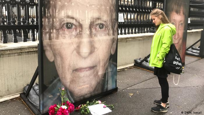 A poster of a Holocaust survivor in Vienna
