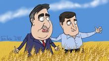 Karikatur Sergey Elkin - Thema: Michail Saakaschwili ist wieder ukrainischer Staatsbürger und kehrt in die Ukraine zurück.