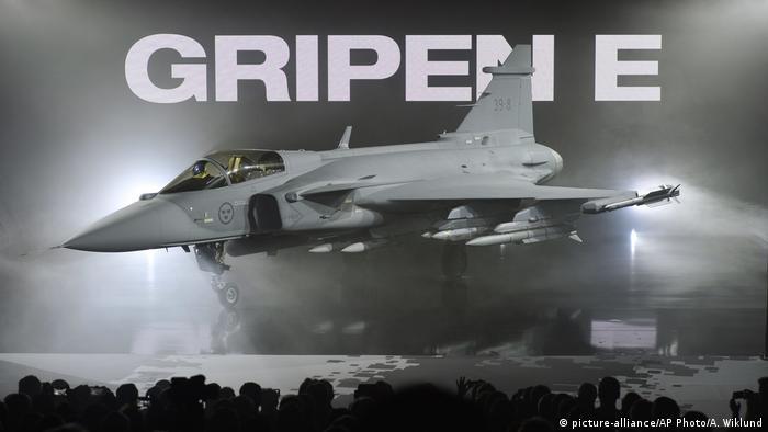 A Swedish JAS 39 Gripen fighter jet