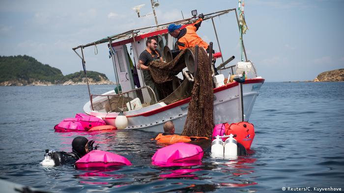 Ghost Fishing Griechenland leere Netze Bergung