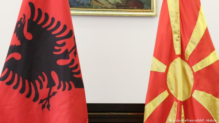 North Macedonia and Albania flags