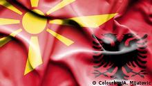 Flaggen von Albanien und Nord-Mazedonien